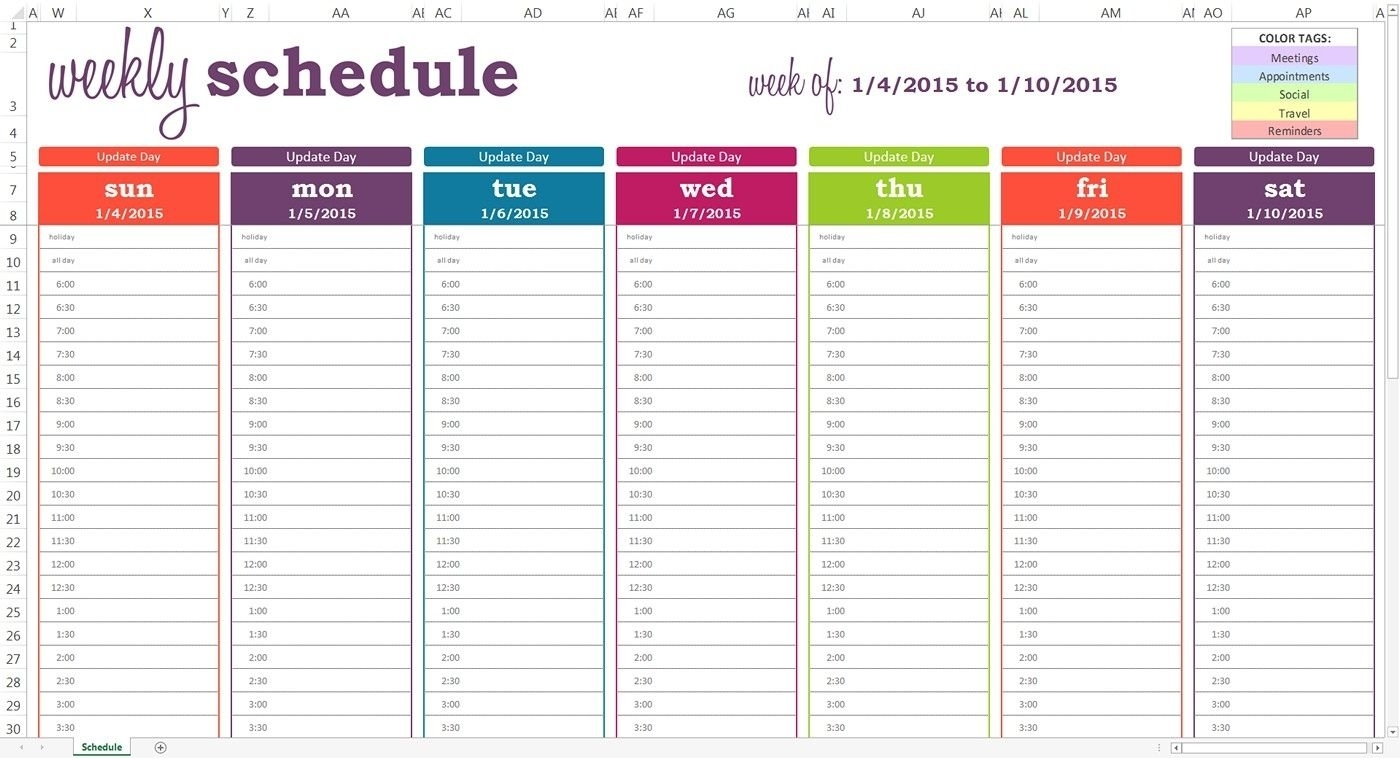 Free Printable Weekly Calendar With Time Slots Template