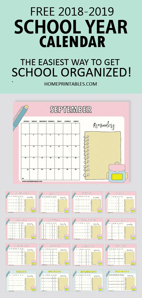 Free School Year Calendar For 2018 To 2019 For Students