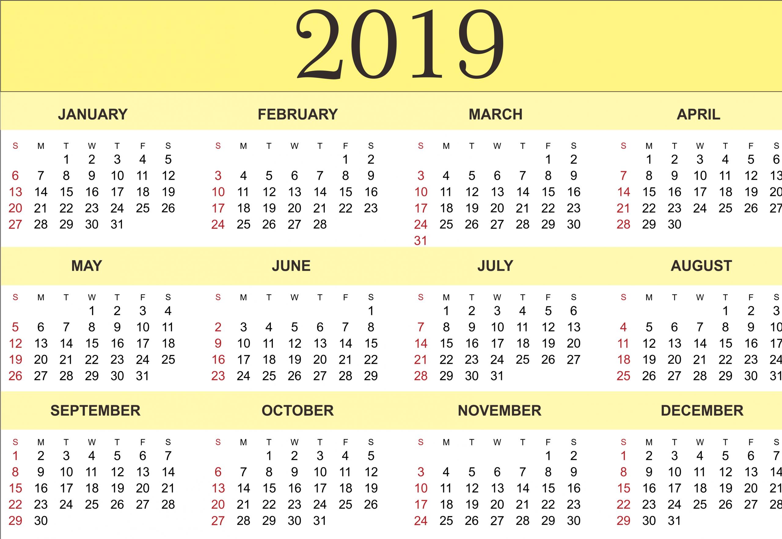 Free Yearly Calendar 2019 - Printable Blank Templates