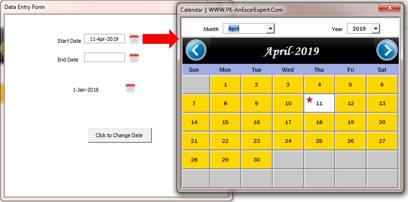 Fully Functional Dynamic Calendar Control In Vba - Pk: An