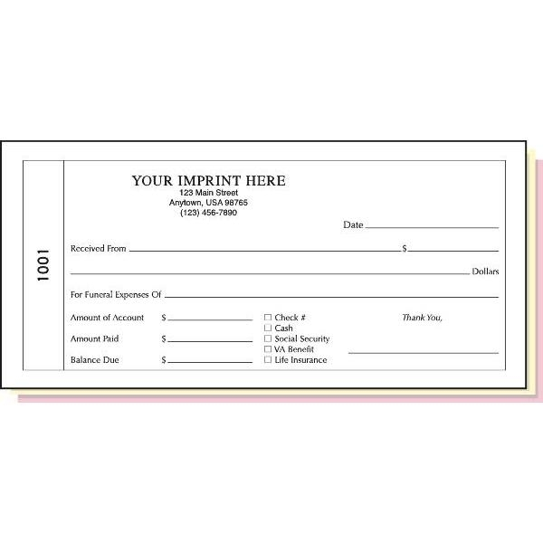 Funeral Receipt Book Triplicate With Imprint | Hd Supply