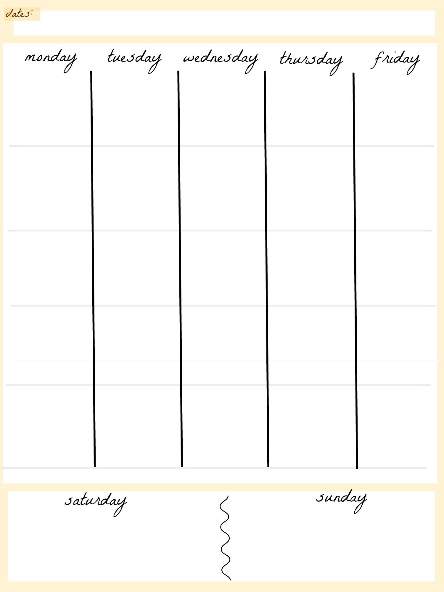 Get Blank Calendar Template 5 Day ⋆ The Best Printable