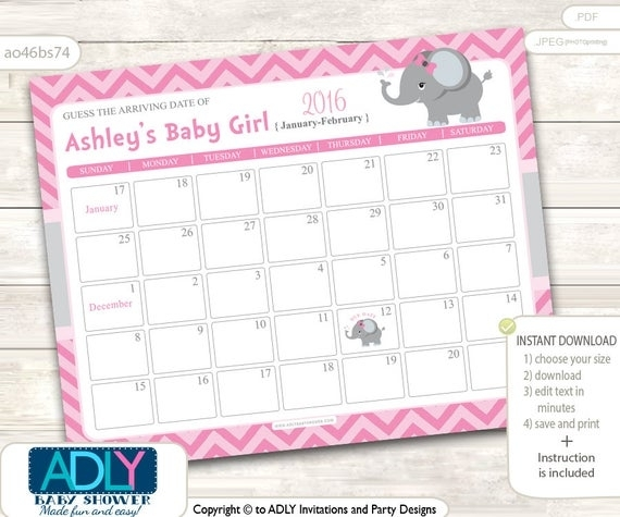 Girl Elephant Guess Due Date Calendar For Baby Shower