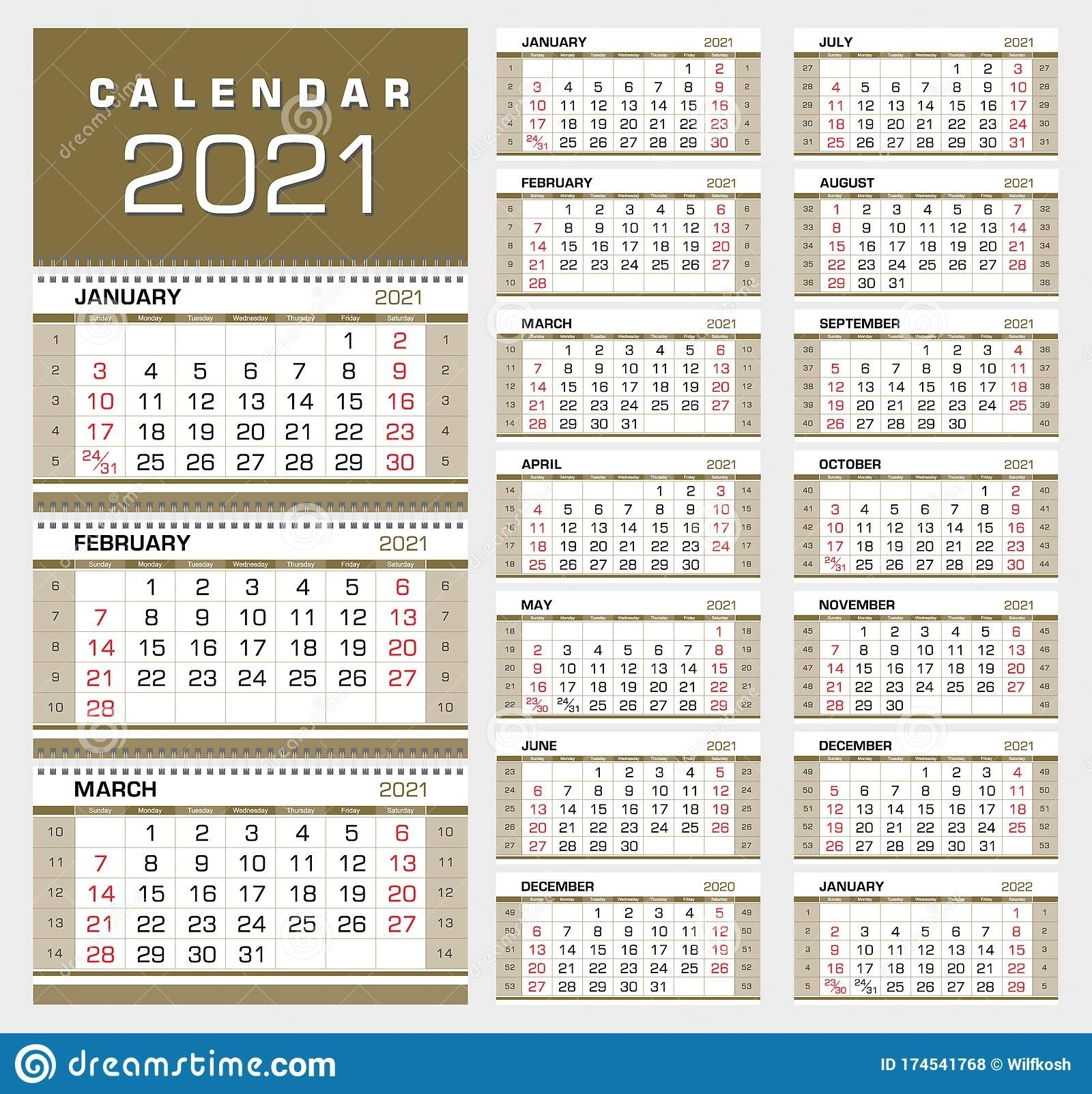 Gold Wall Quarterly Calendar 2021 With Week Numbers. Week