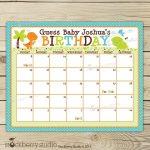 Printable Baby Pool Blank Calendars Boy