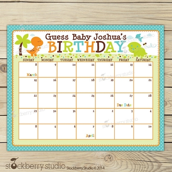 Guess The Baby Due Date :-Free Calendar Template