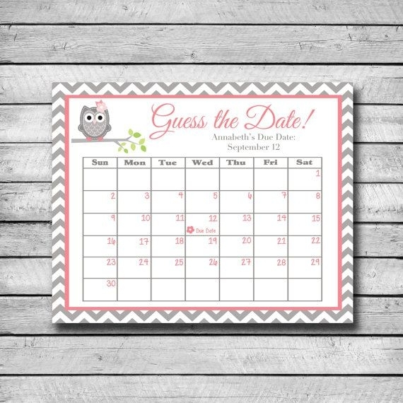 Guess The Date | Pink And Grey Owl | Baby Shower Game