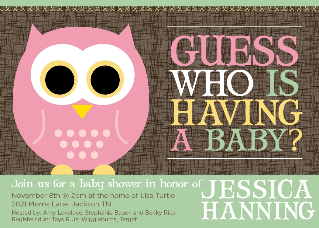 Guess Who Owl Baby Shower Invitation | Owl Baby Shower