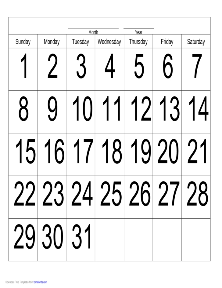 Handwriting Calendar - 31 Day - Sunday Free Download