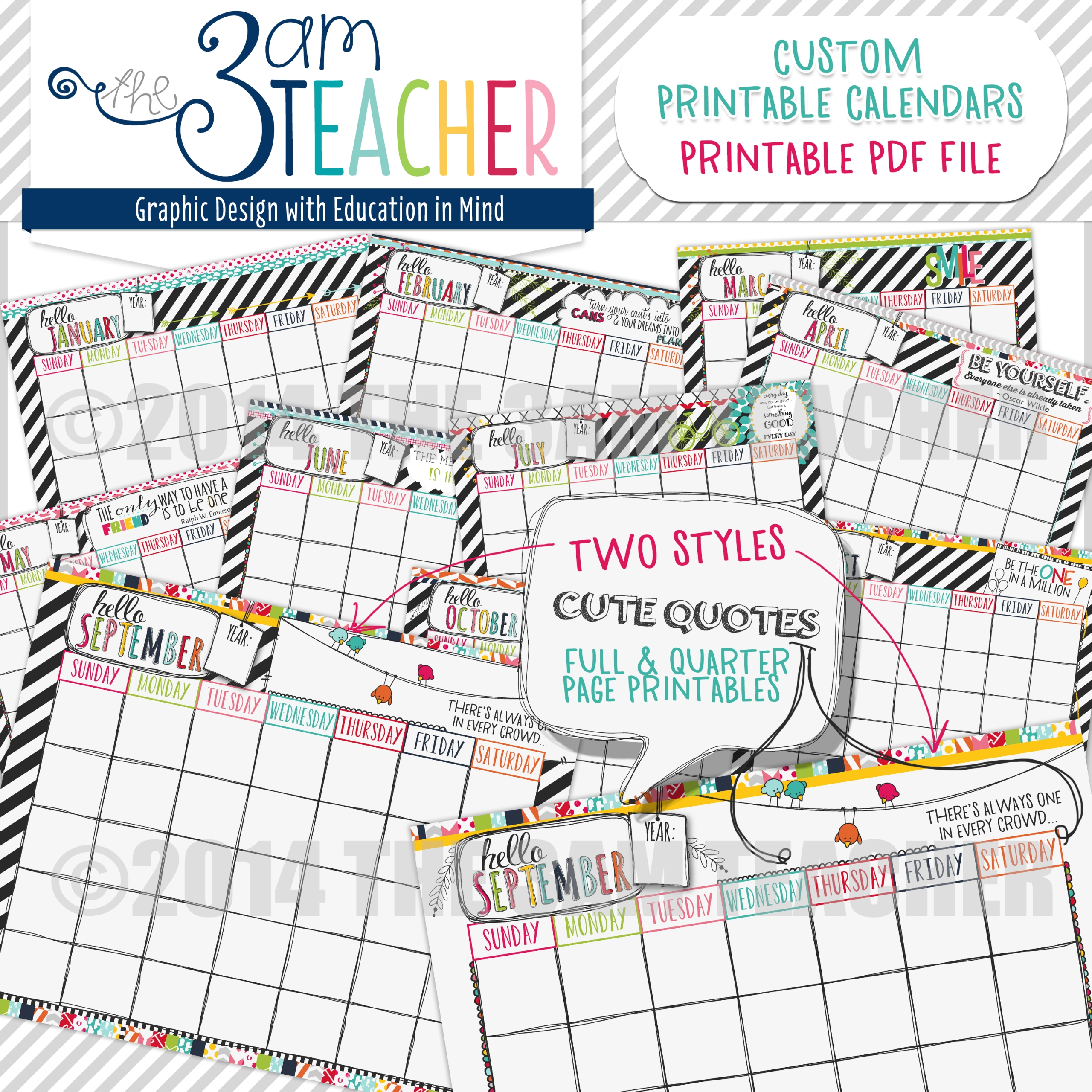 Hello Planner: Illustrated Printable Calendar Pages For
