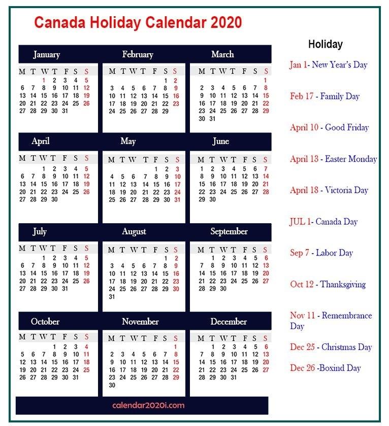 Holiday Calendar 2020 - Free Download Printable Calendar