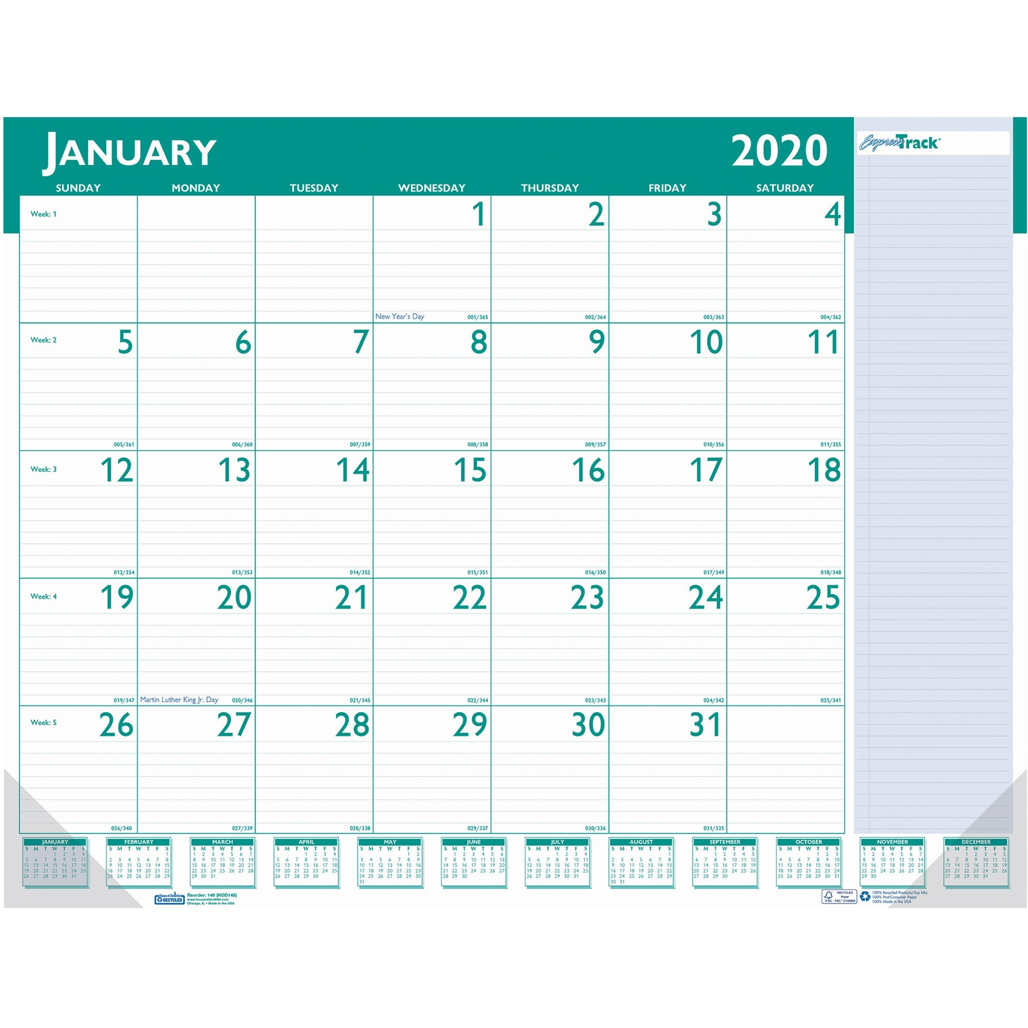 House Of Doolittle Expresstrack Desk Pad Calendar - Yes