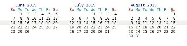How To Show The Three Months Calendar Of Non-Gregorian