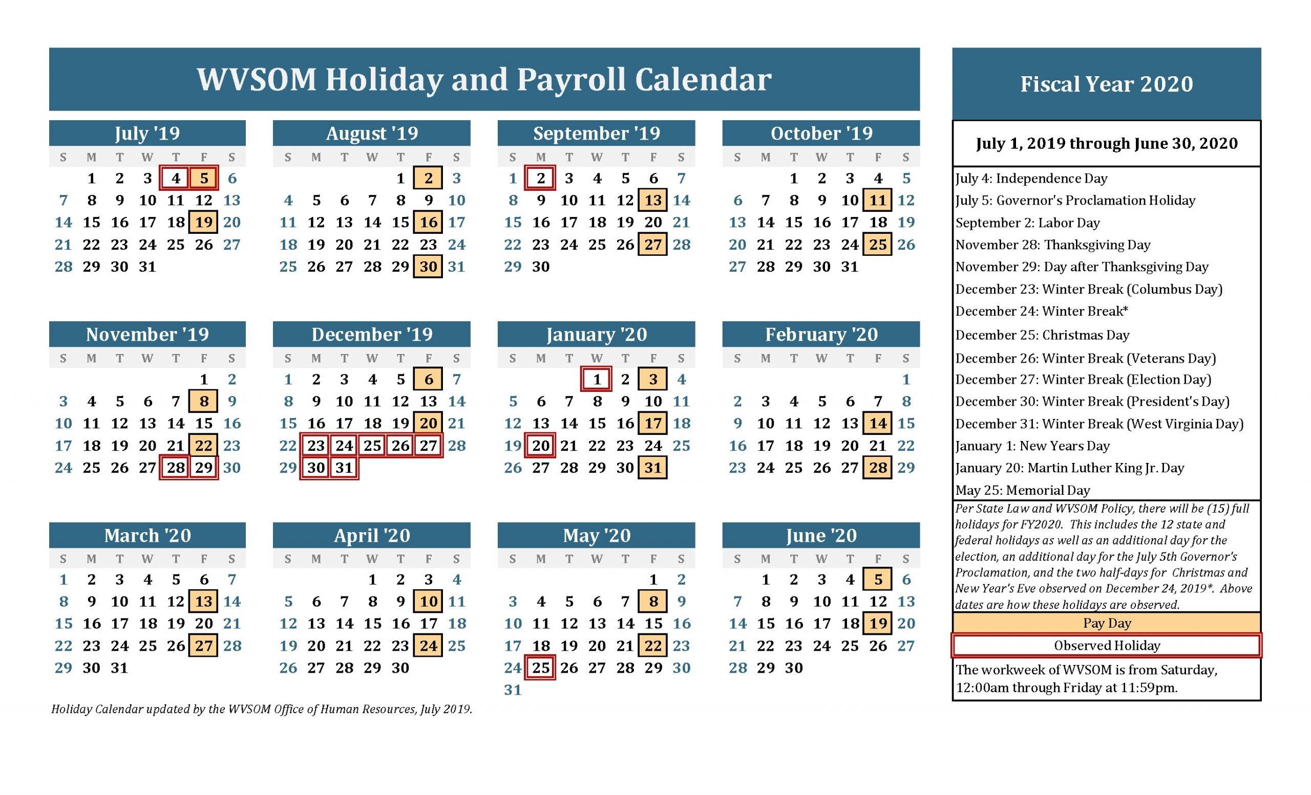 Human Resources - Holiday Calendar | West Virginia School