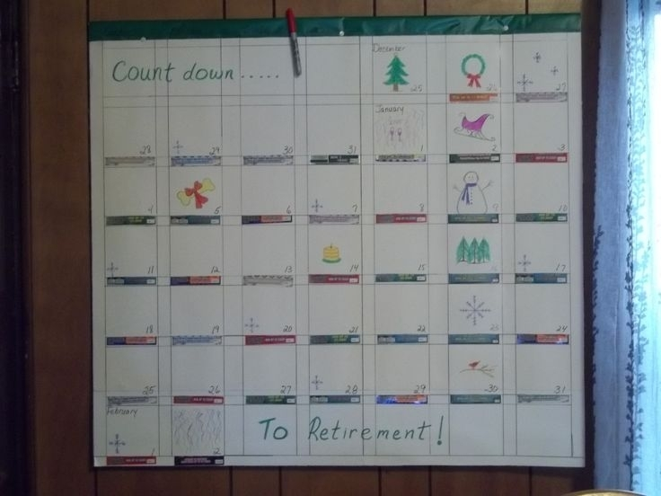 """I Made This """"Countdown To Retirement"""" Calendar For My"""