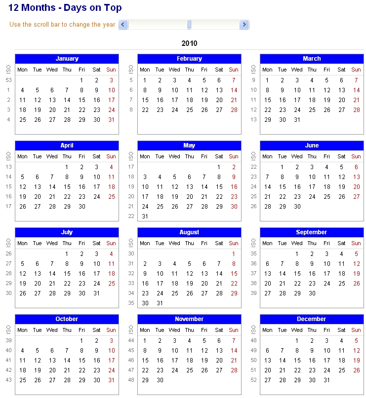 Image Of Adjustable And Printable Excel Calendar - 12