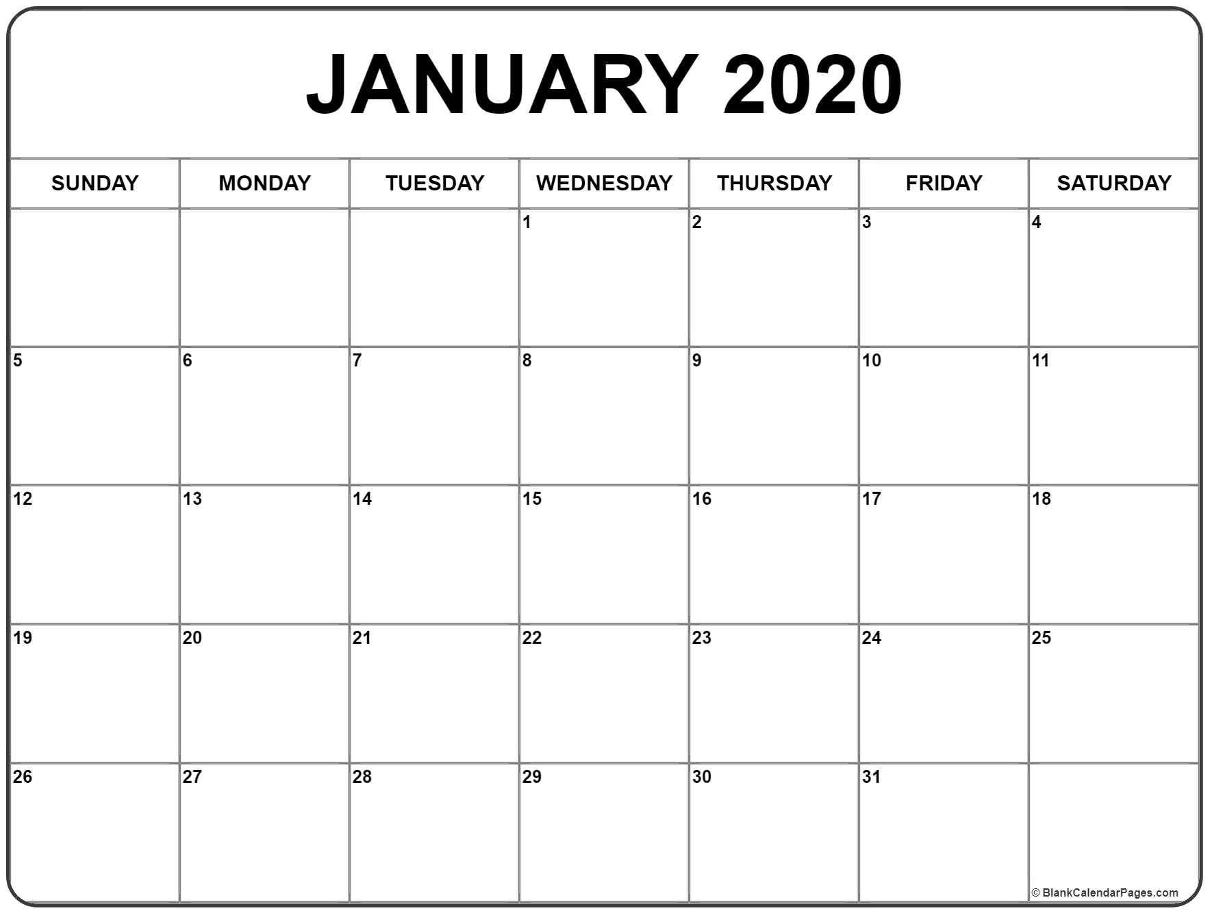 Impressive 2020 Calendar With Numbered Days • Printable