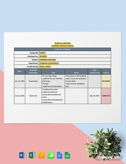 It On-Call Schedule Template - Word   Excel   Google Doc