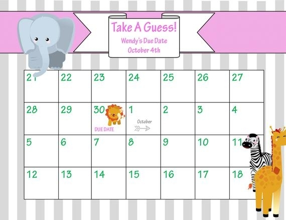 Items Similar To Printable Due Date Calendar // Baby