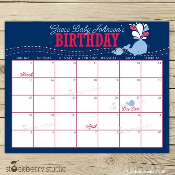 Items Similar To Whale Baby Shower Guess The Due Date