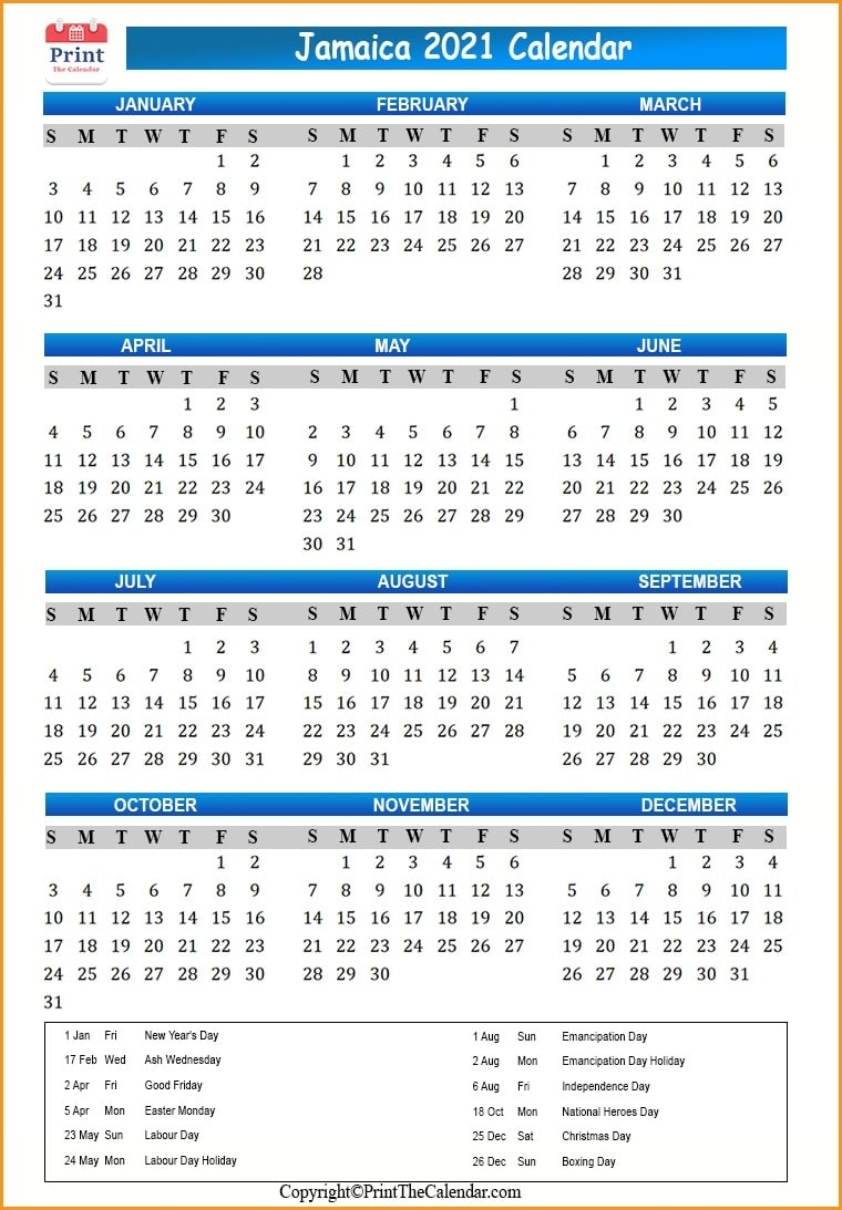 Jamaica Holidays 2021 [2021 Calendar With Jamaica Holidays]