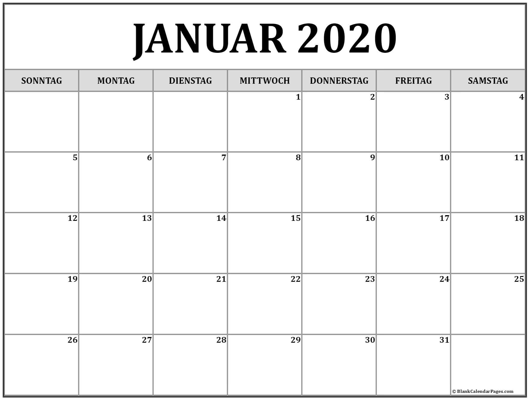Januar 2020 Kalender | Kalender 2020 | Avnitasoni