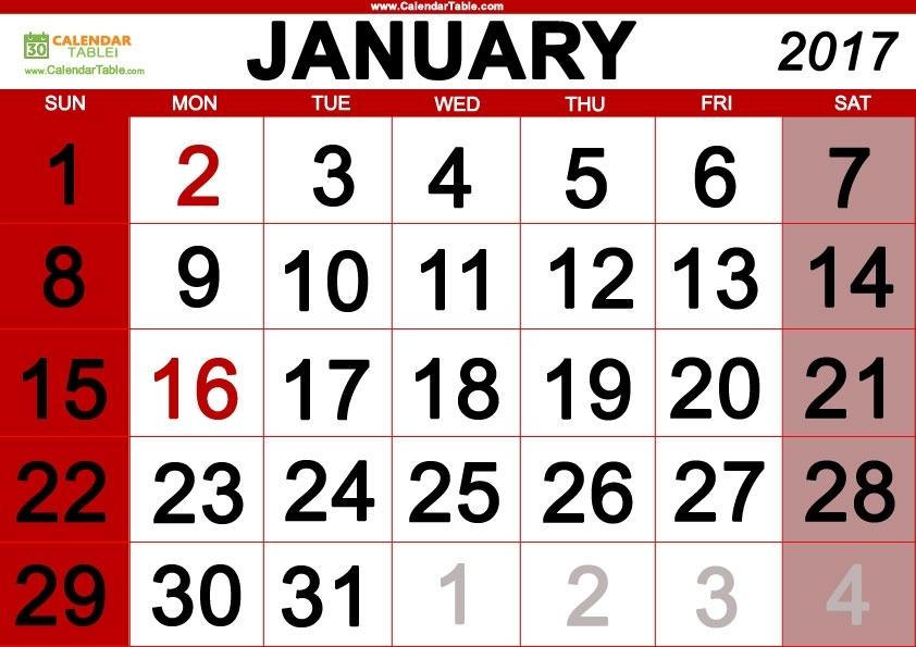 January 2017 Days Of The Week And Calendar - Calendar