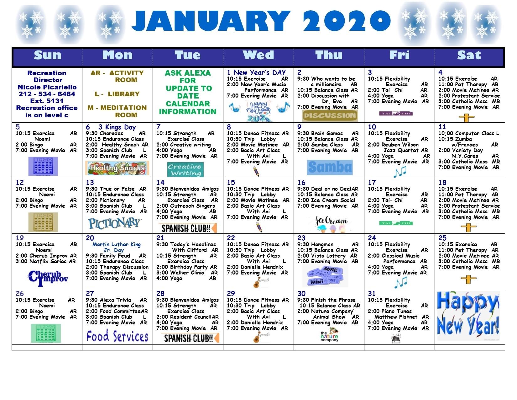 January 2020 Calendar | Lott Assisted Living Residence