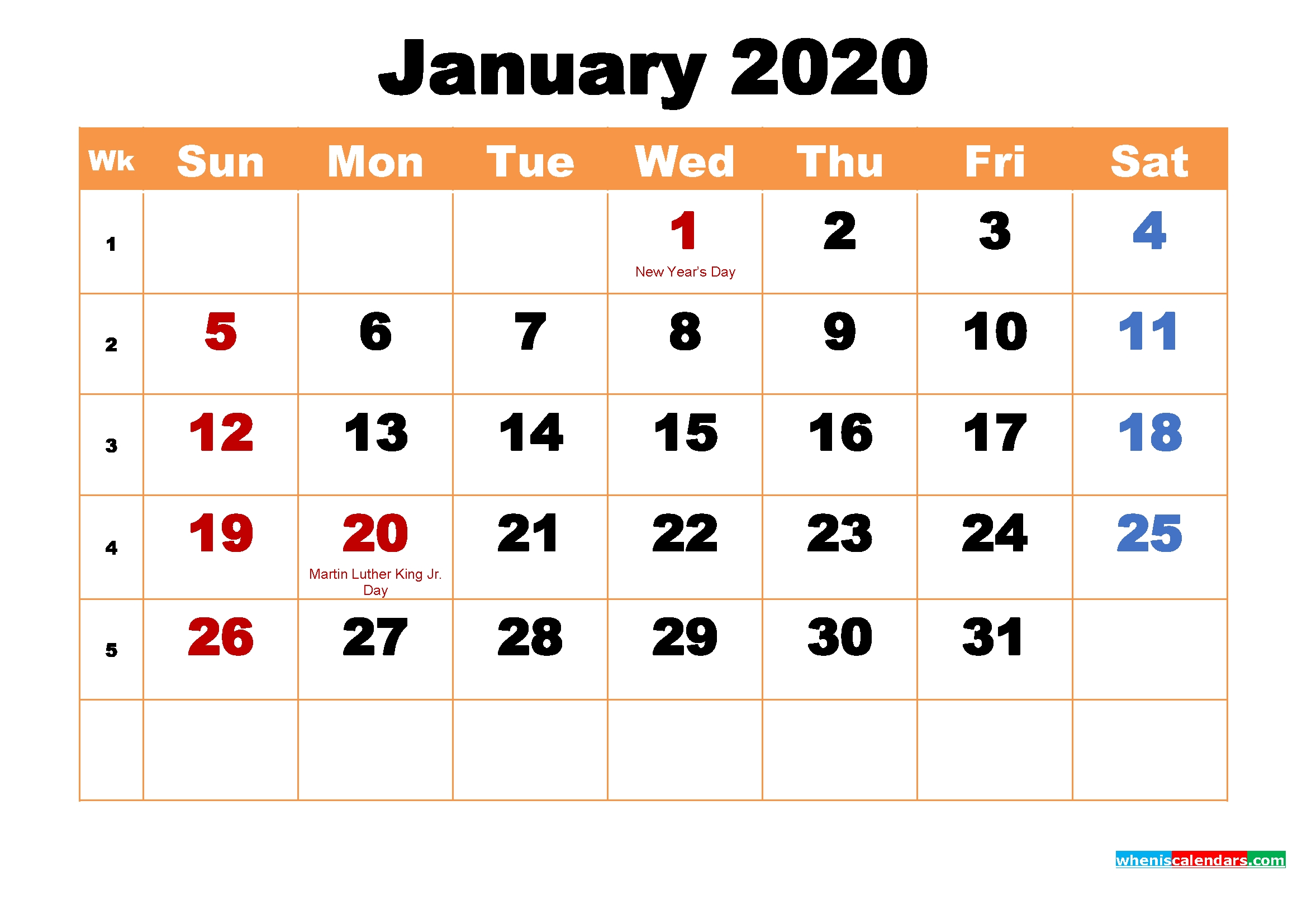 January 2020 Calendar Wallpaper High Resolution | Free