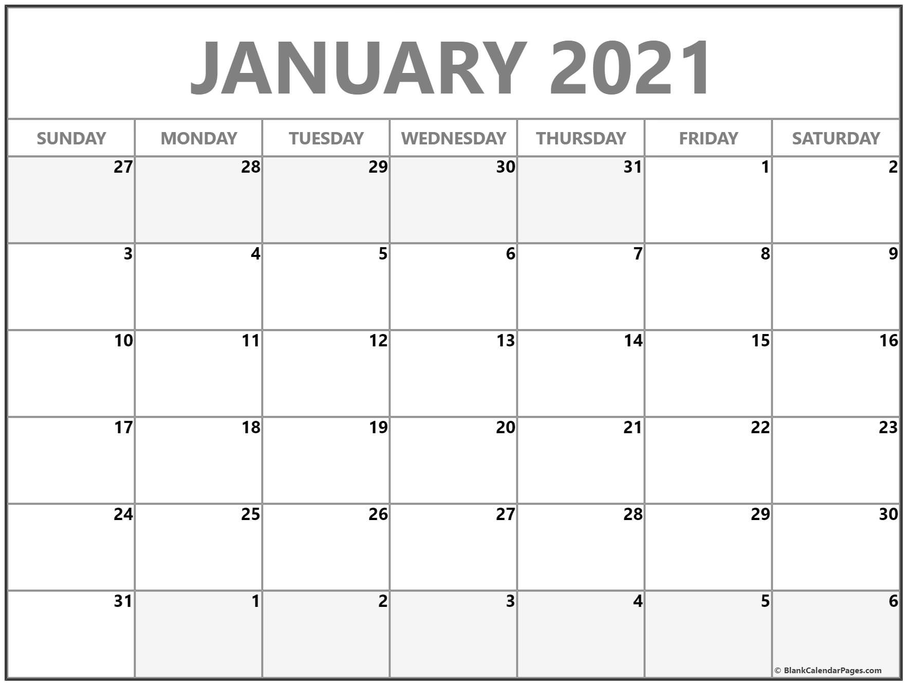 January 2021 Blank Calendar Collection.