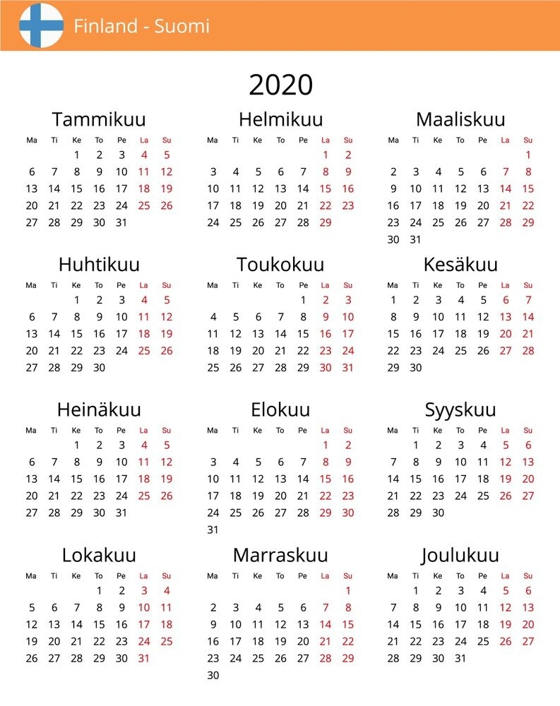 Julian Calendar 2020 - Free Download Printable Calendar