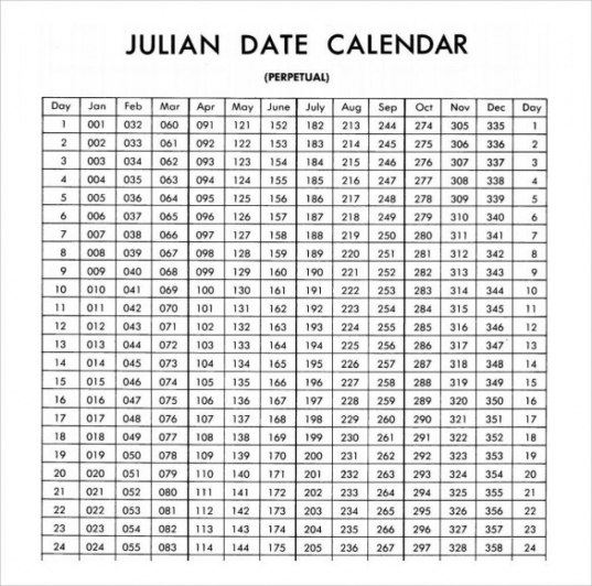 Julian Calendar Date Today | Printable Calendar Template 2020
