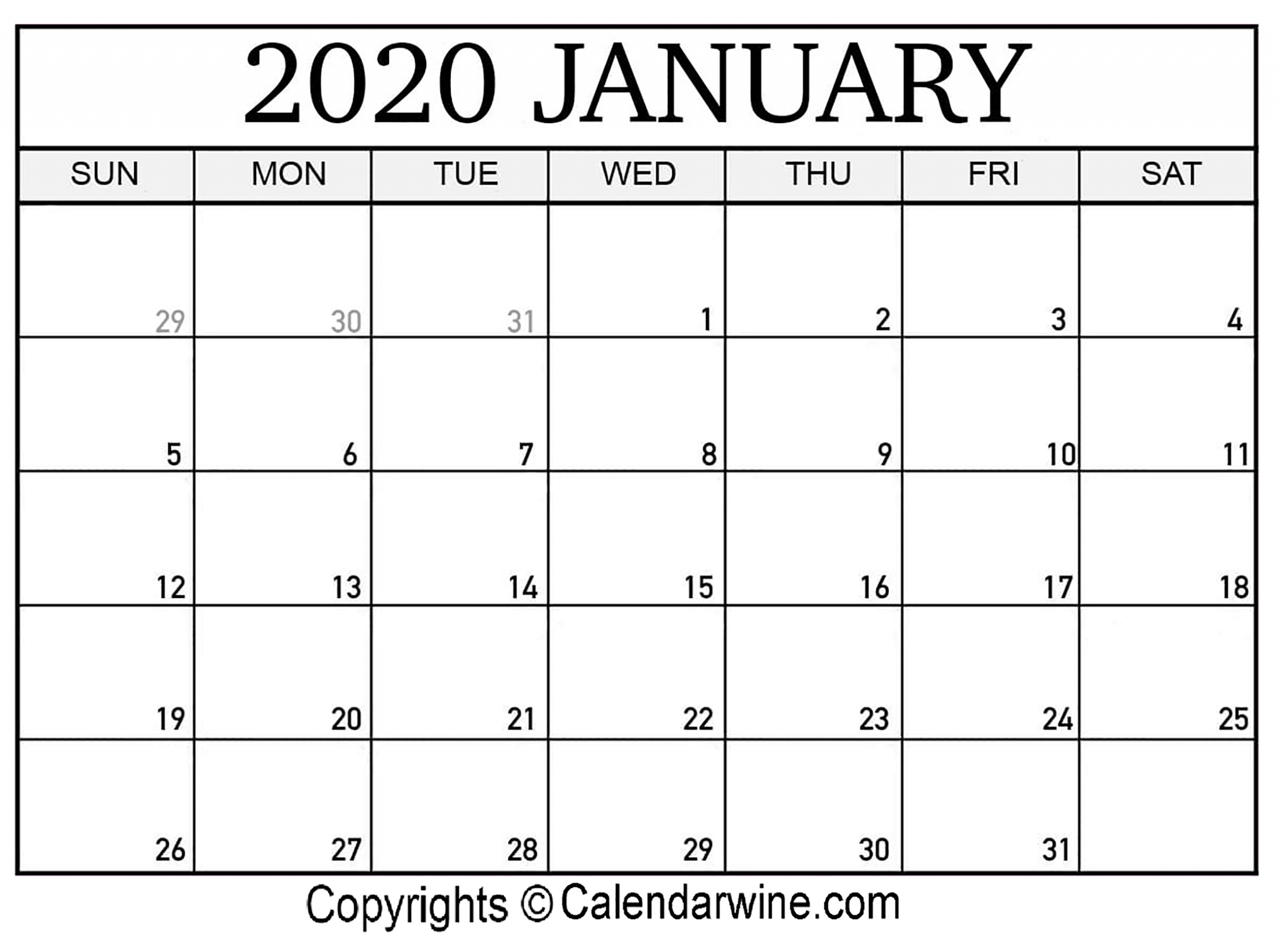 Julian Calendar January 2020 | Free Printable Calendar