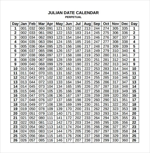 Julian Date Calendar For Year 2019 2018 Pdf