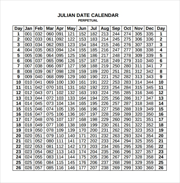 Julian Date Calendar For Year 2019 2018 Pdf