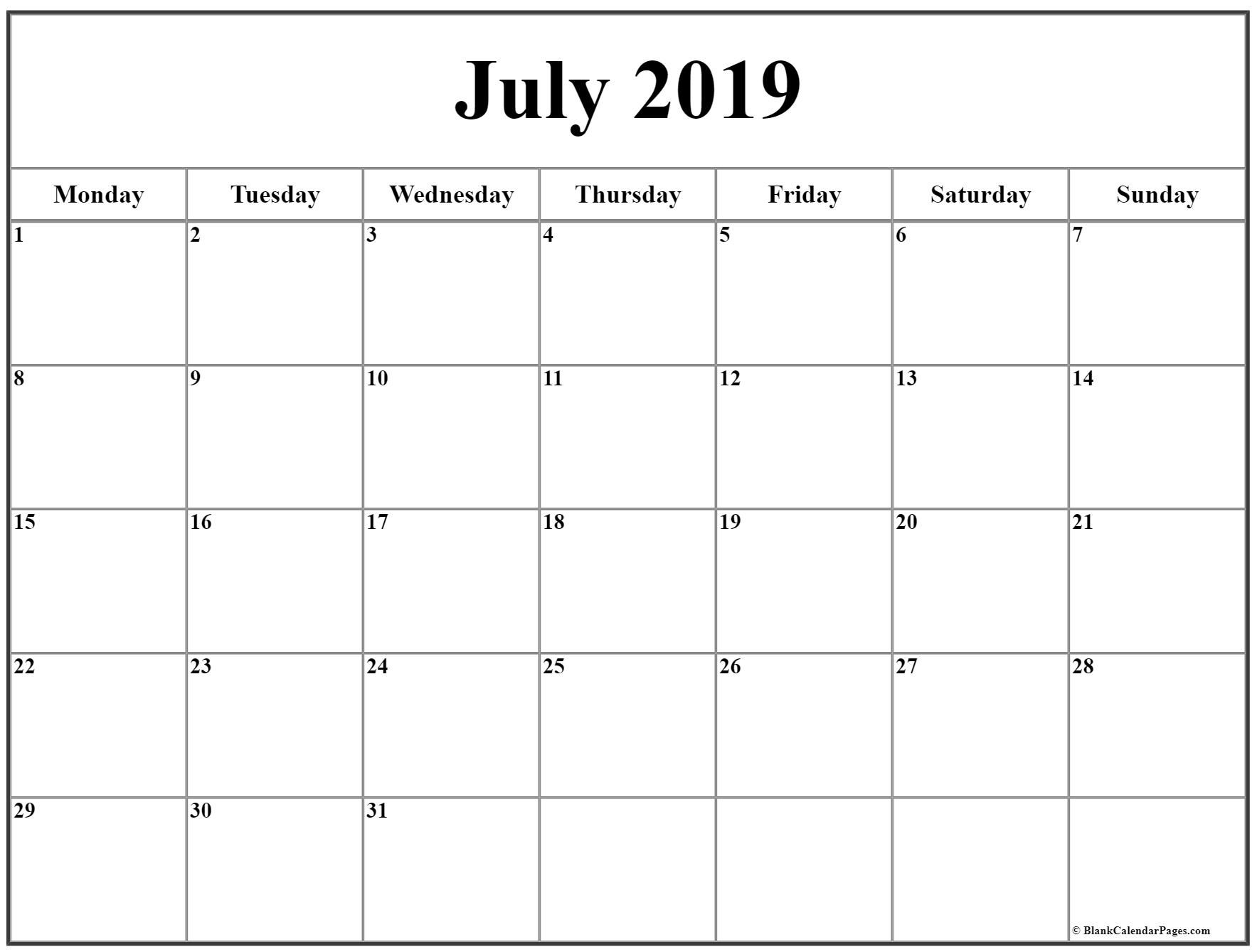 July 2019 Monday Calendar. Monday To Sunday | June