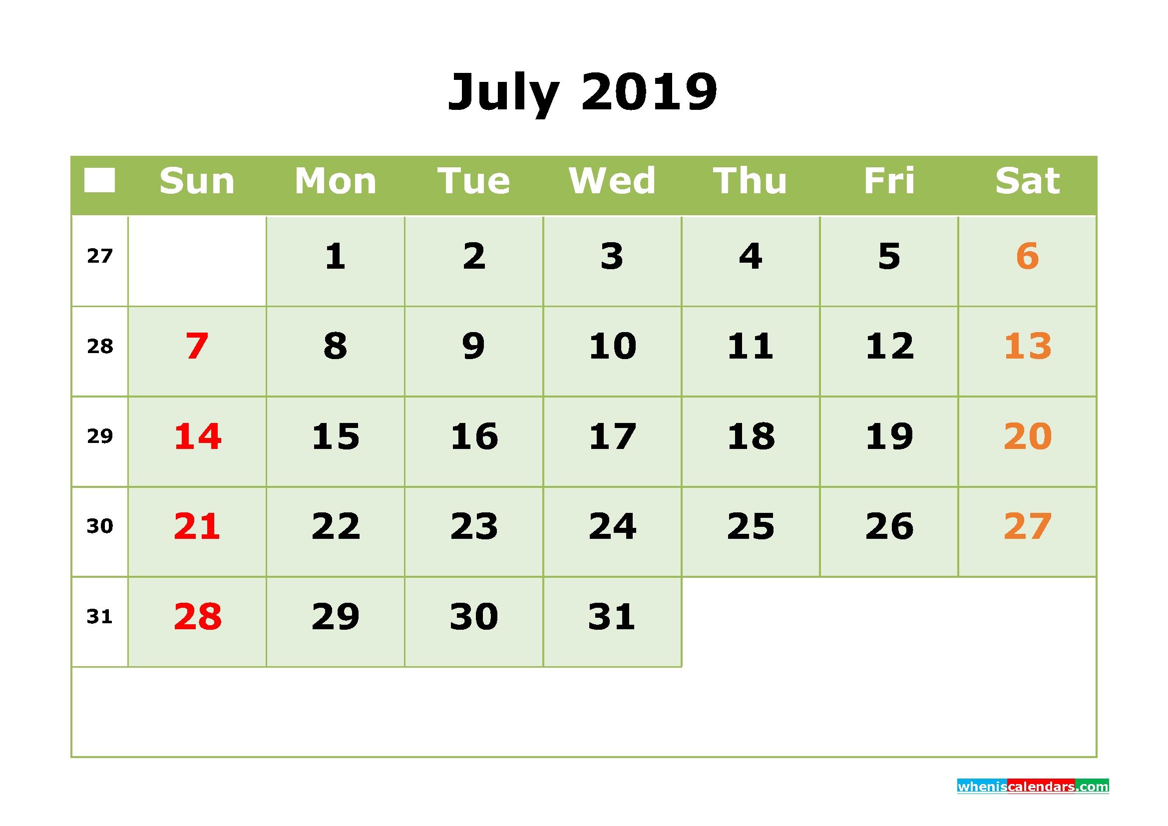 July 2019 Printable Calendar Month By Month Calendar