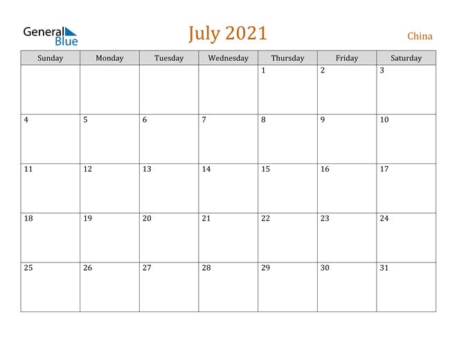 July 2021 Calendar - China