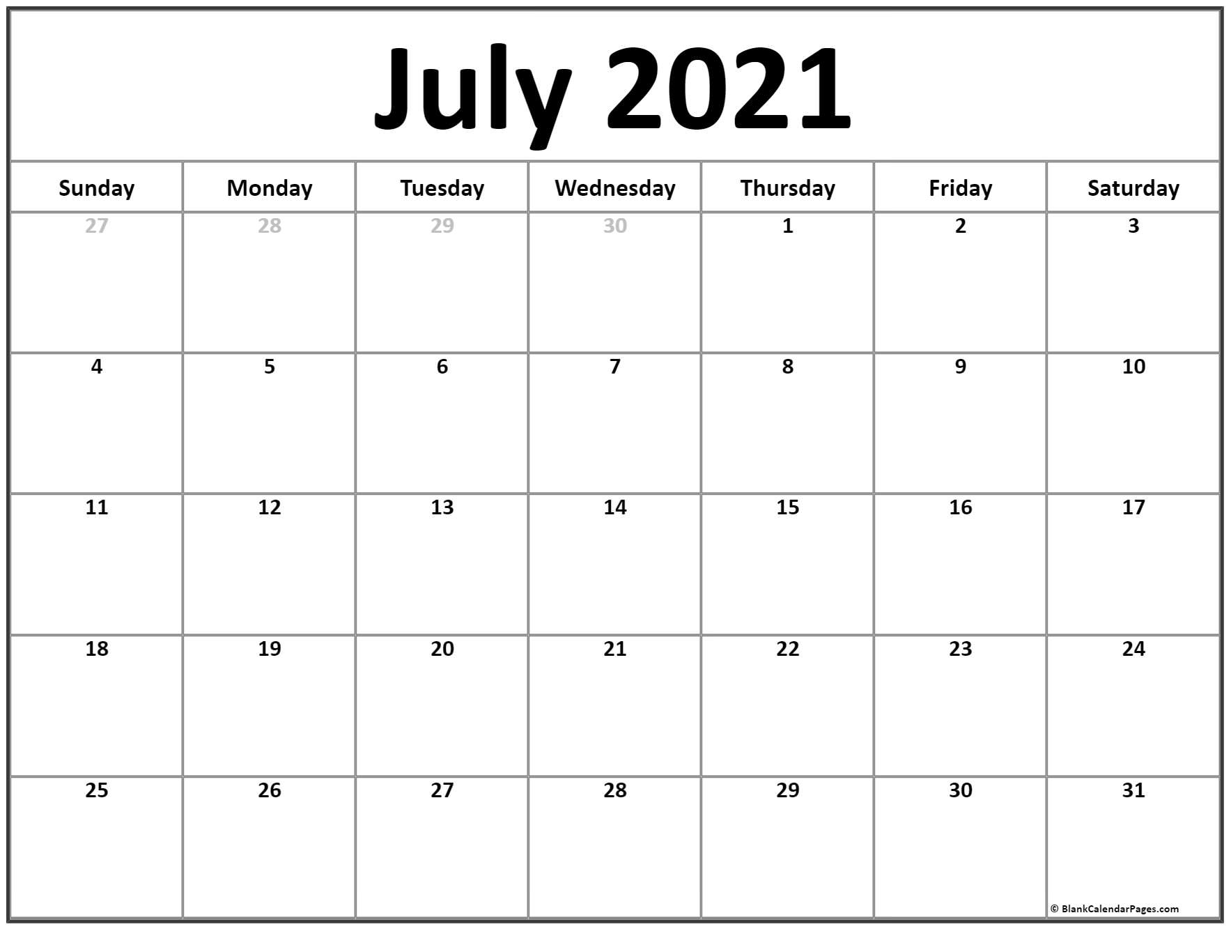 July 2021 Calendar | Free Printable Monthly Calendars