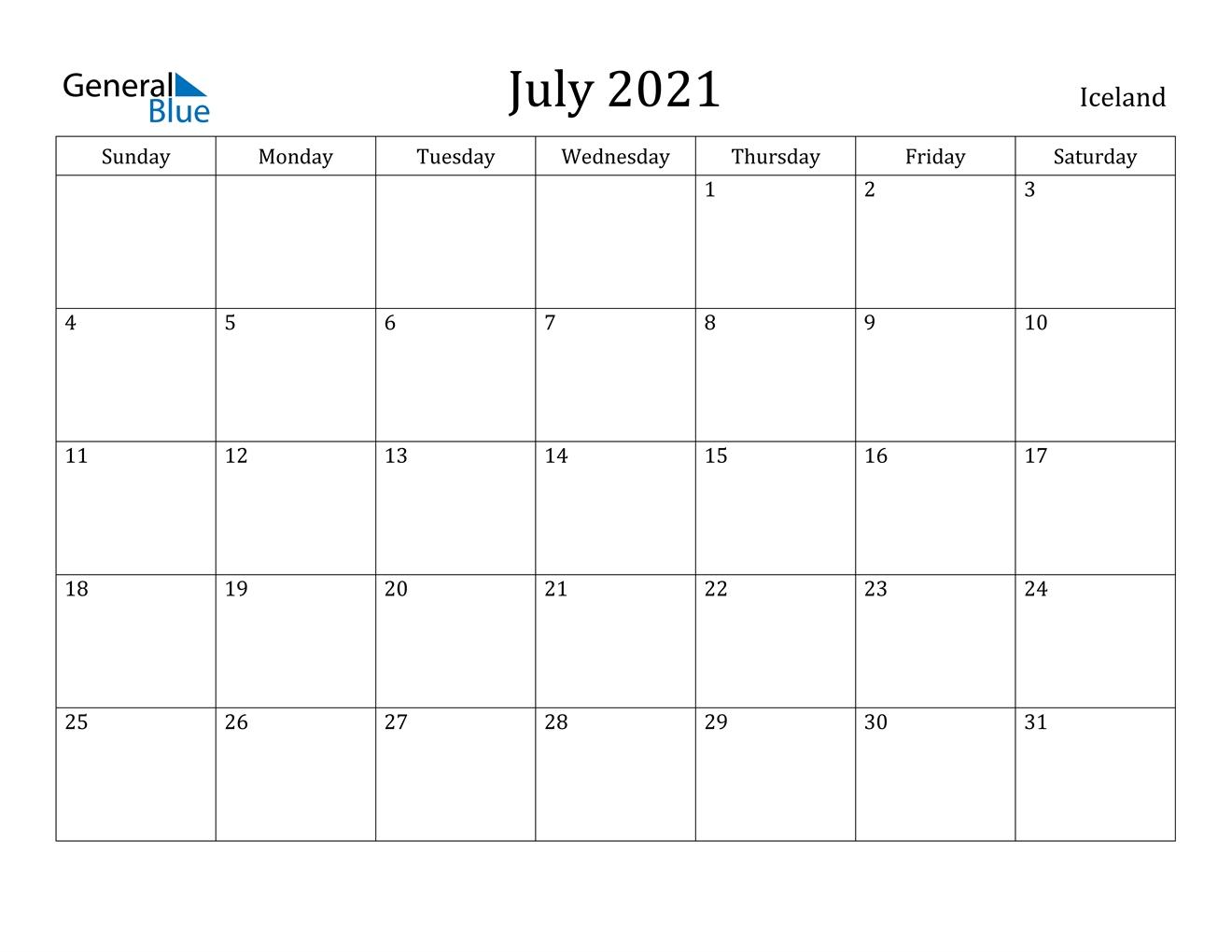 July 2021 Calendar - Iceland
