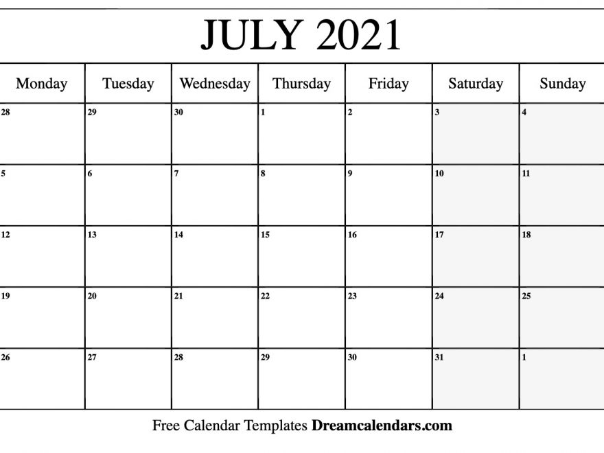 July 2021 Calendar With Holidays | 2020Calendartemplates