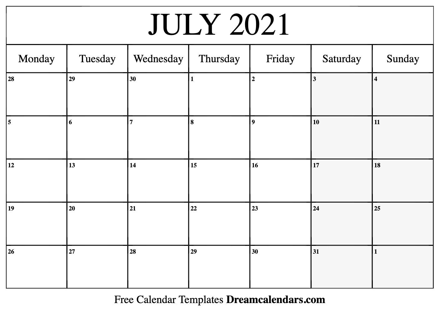 July 2021 Calendar With Holidays | 2020Calendartemplates