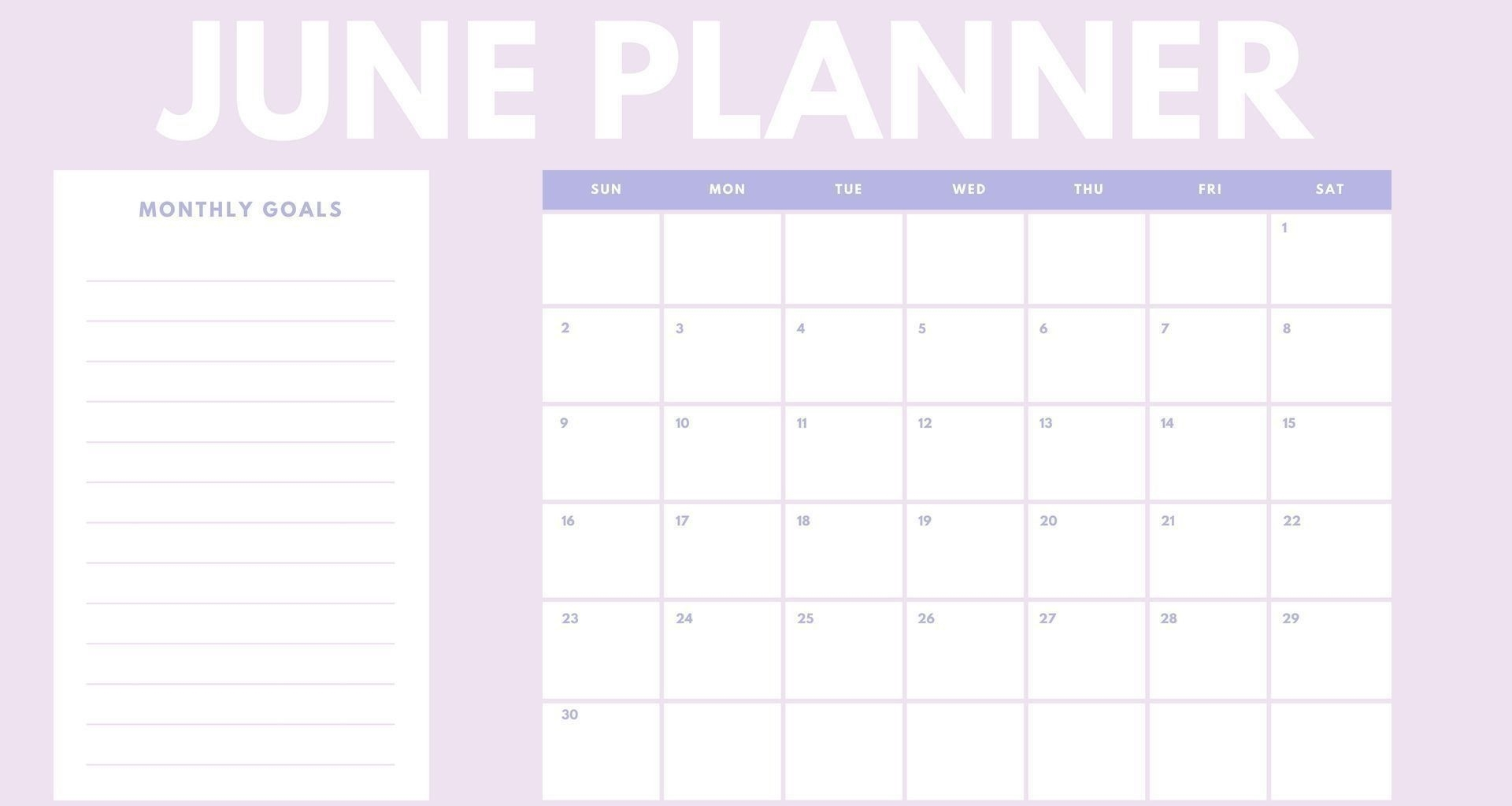 June 2019 Planner Printable Daily, Weekly Templates