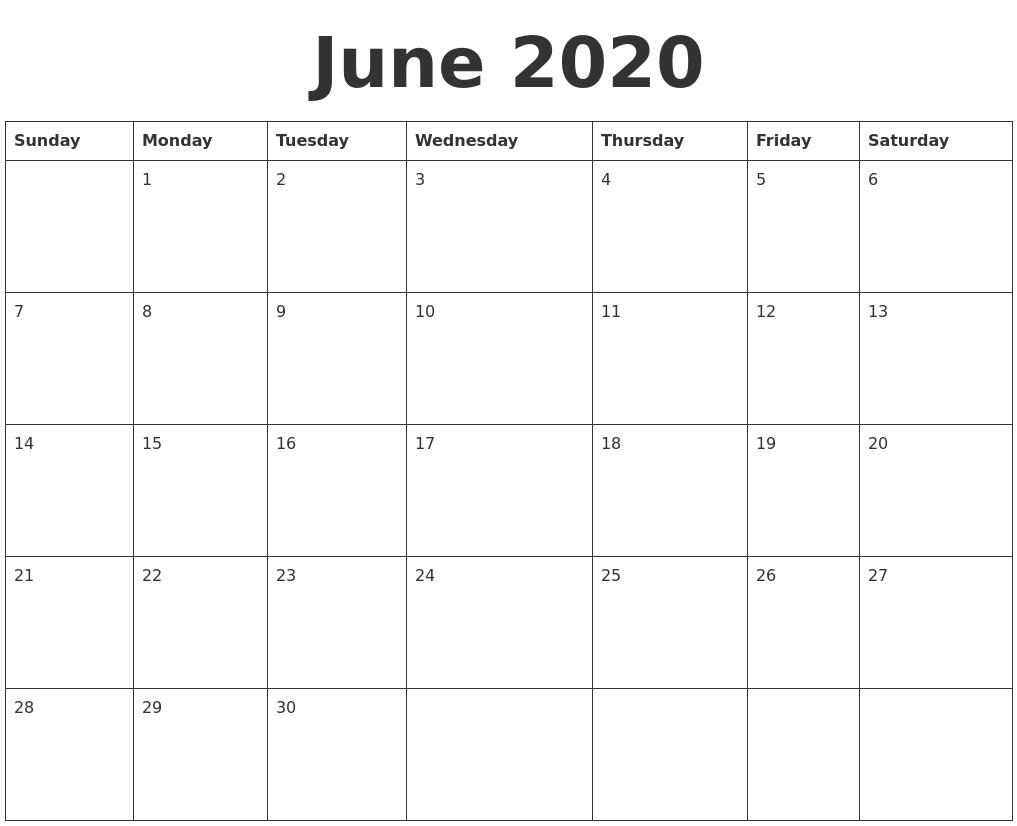 June 2020 Blank Calendar Template