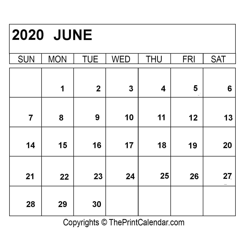 June 2020 Printable Calendar Template [Pdf, Word & Excel]