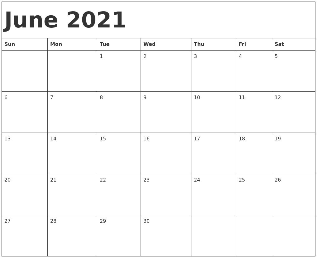 June 2021 Calendar | 2020Calendartemplates