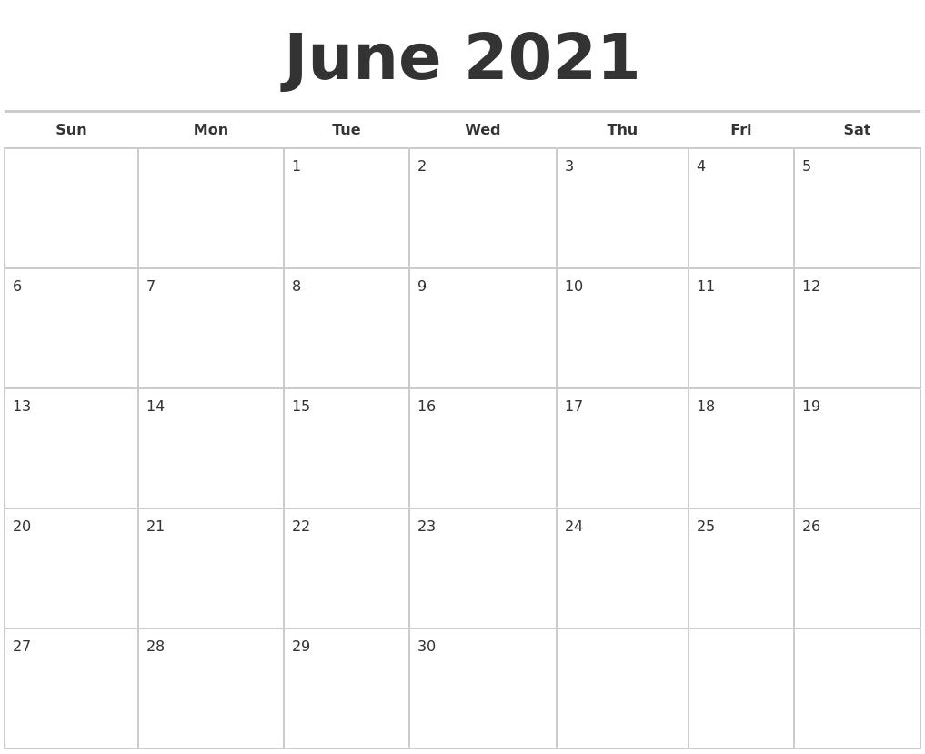 June 2021 Calendars Free