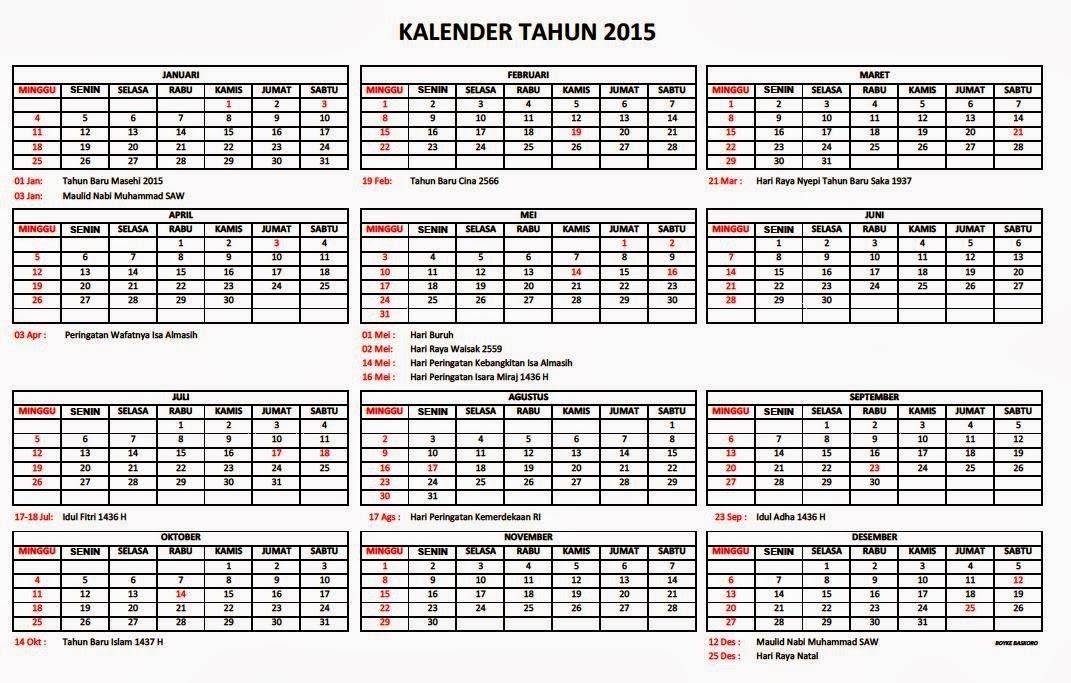 Kalender 2015 Nasional | New Calendar Template Site