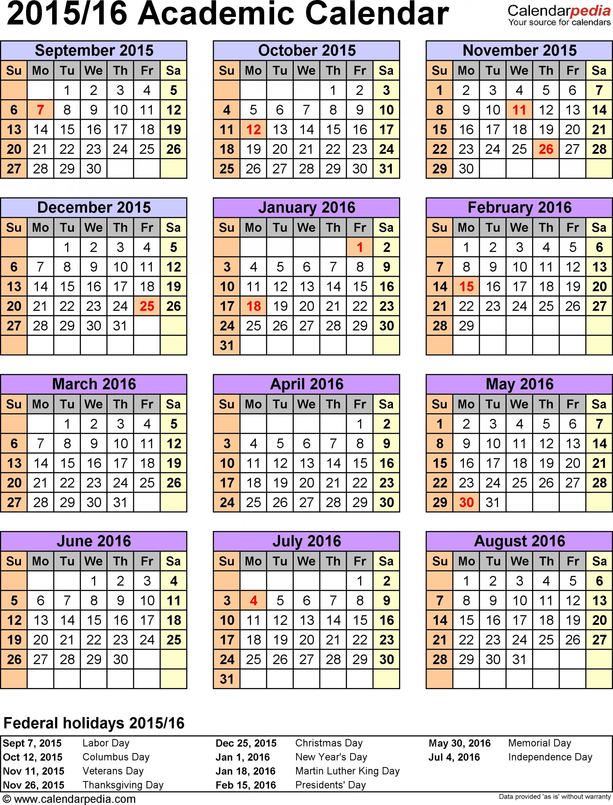 Large School Calendar At A Glance Template :-Free Calendar