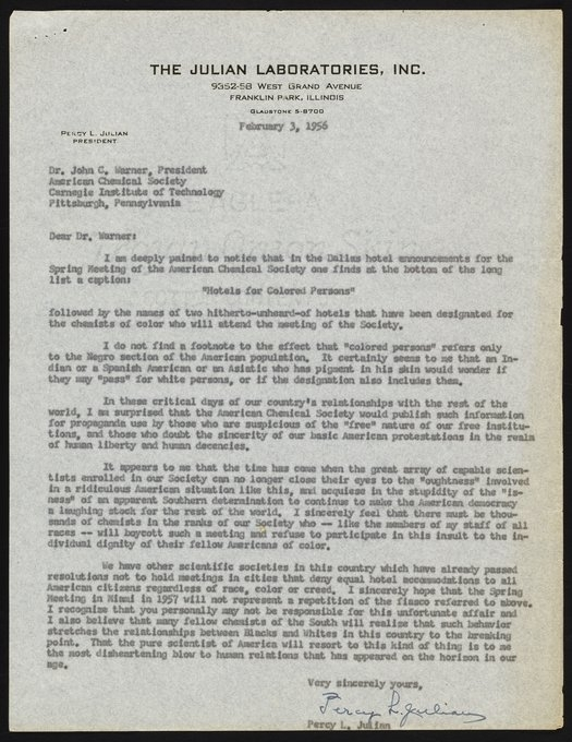 Letter From Percy L. Julian To John C. Warner - Science
